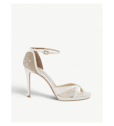 JIMMY CHOO Talia 100 lace and satin heeled sandals (Ivory/white
