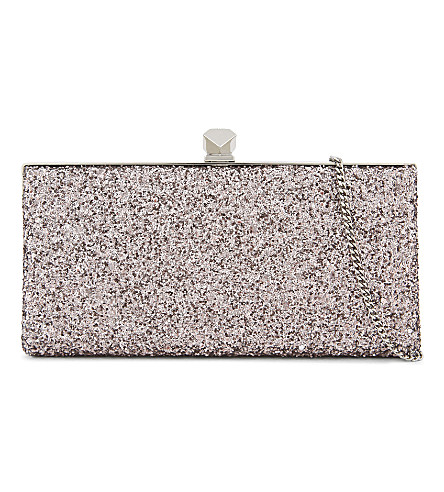 JIMMY CHOO Celeste metallic coarse glitter clutch (Tea+rose