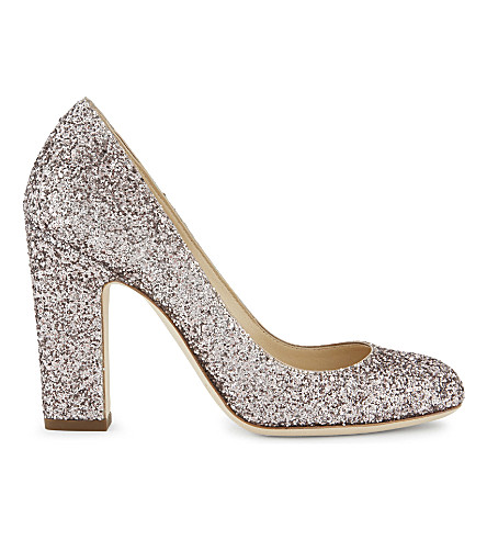 JIMMY CHOO Billie 100 coarse glitter courts (Tea+rose