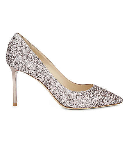 JIMMY CHOO Romy 85 metallic coarse glitter courts (Tea+rose