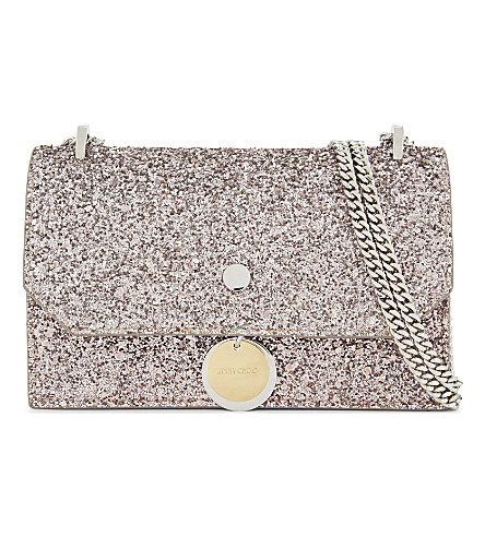 JIMMY CHOO Finley coarse glitter cross-body bag (Tea+rose