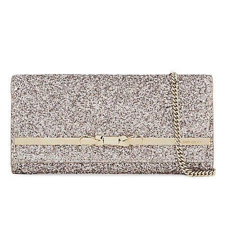 JIMMY CHOO Lydia coarse glitter shoulder bag (Tea+rose