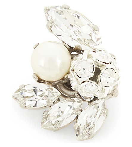 JIMMY CHOO Spring Swarovski crystal and pearl shoe button (Crystal+mix