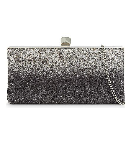 JIMMY CHOO Celeste speckled-glitter clutch (Light+mocha/black