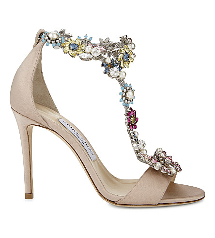 JIMMY CHOO Reign 100 satin heeled sandals (Rose/camellia+mix