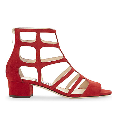 JIMMY CHOO Ren 35 suede heeled sandals (Red
