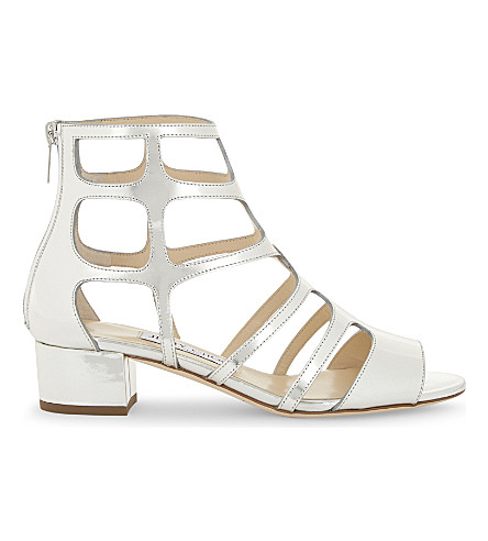 JIMMY CHOO Ren 35 mirrored-leather sandals (Silver