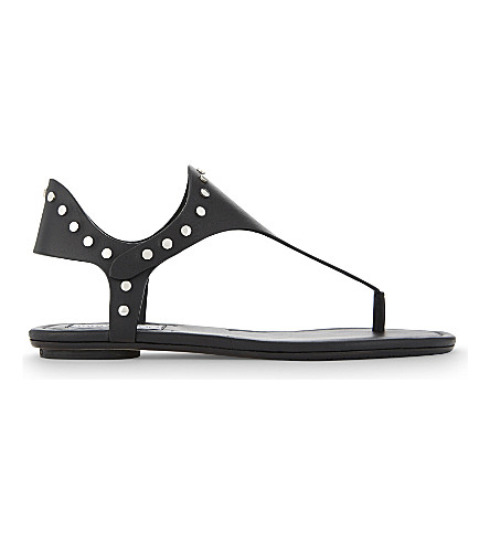 JIMMY CHOO Dara vachetta leather flat sandals (Black