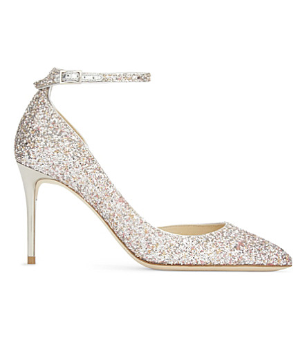 JIMMY CHOO Lucy 85 speckled glitter courts