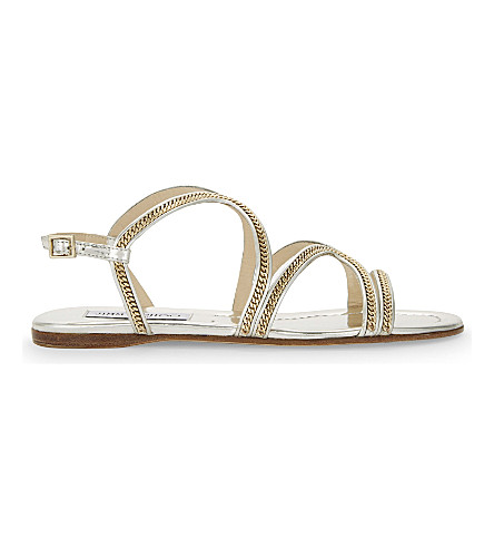 0ba011673f6 ... JIMMY CHOO Nickel flat mirror leather sandals (Silver. PreviousNext