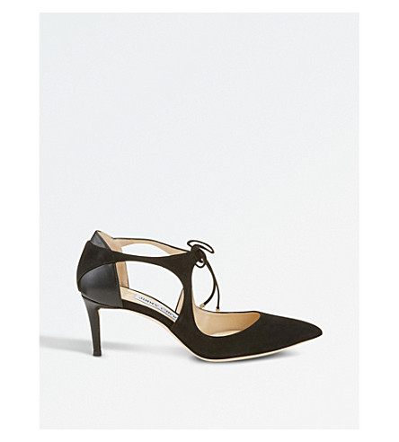 JIMMY CHOO Vanessa 65 suede and nappa-leather courts (Black/black