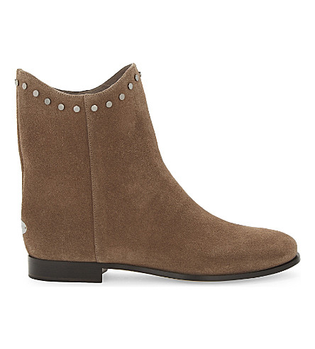 JIMMY CHOO Marco flat suede ankle boots (Light+mocha