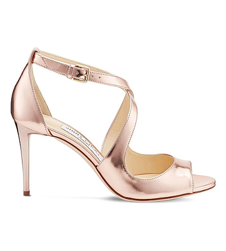 JIMMY CHOO Emily 85 mirrored leather heeled sandals (Tea+rose