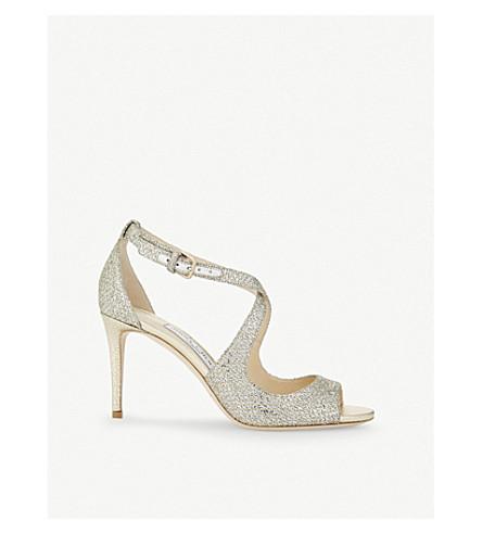 JIMMY CHOO Emily 85 champagne glitter heeled sandals (Champagne