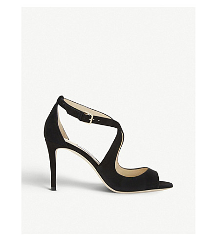 JIMMY CHOO Emily 85 suede heeled sandals (Black