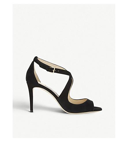 JIMMY CHOO Emily 85 suede heeled sandals (Black