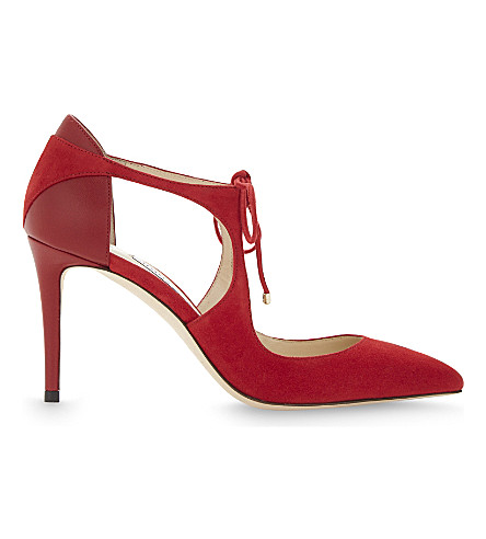 JIMMY CHOO Vanessa 85 suede and nappa-leather courts (Red/red