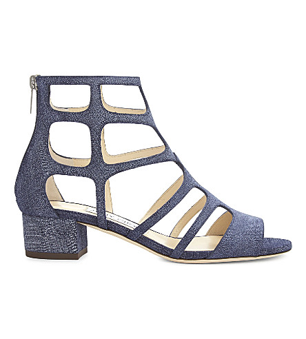 JIMMY CHOO Ren 35 denim heeled sandals (Light+indigo