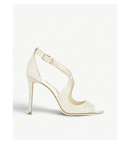 JIMMY CHOO Emily 100 dusty glitter heeled sandals (Platinum+ice
