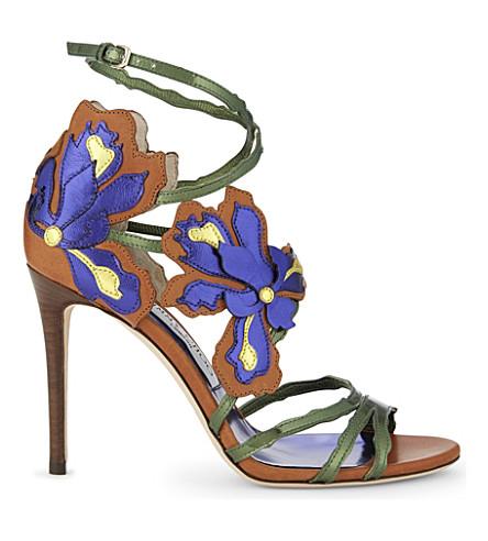 JIMMY CHOO Lolita 100 leather heeled sandals (Canyon mix