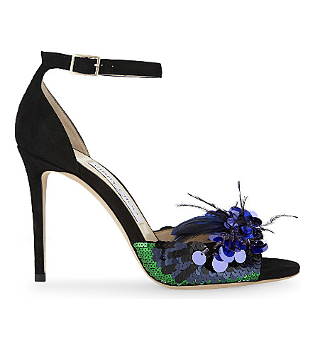 JIMMY CHOO Annie 100 suede and feather heeled sandals (Black/blue+mix
