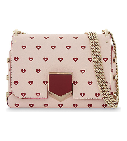 JIMMY CHOO Lockett petite sweetheart-print leather shoulder bag (Camellia/red