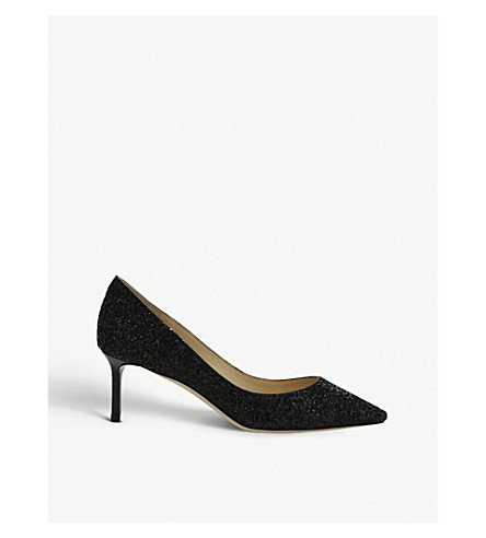 JIMMY CHOO Romy 60 coarse glitter courts (Black
