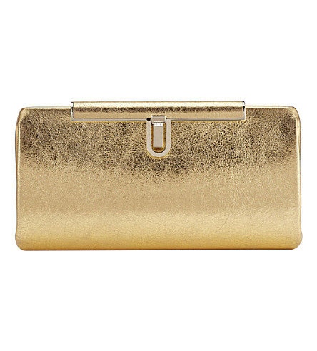 JIMMY CHOO Cay metallic-leather clutch (Gold