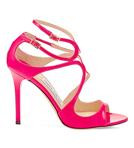 JIMMY CHOO Lang 100 patent-leather heeled sandals (Shocking+pink