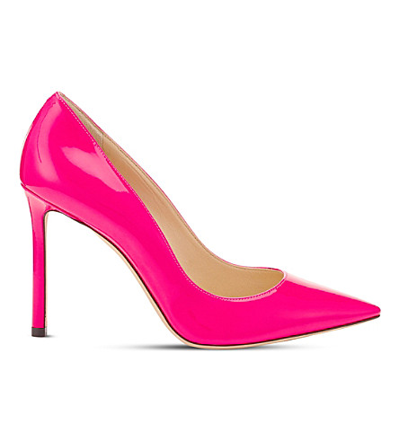 JIMMY CHOO Romy 100 neon patent-leather courts (Shocking+pink