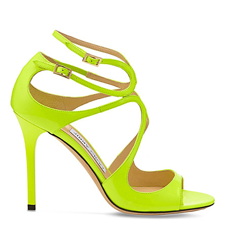 JIMMY CHOO Lang 100 patent-leather heeled sandals (Shocking+yellow