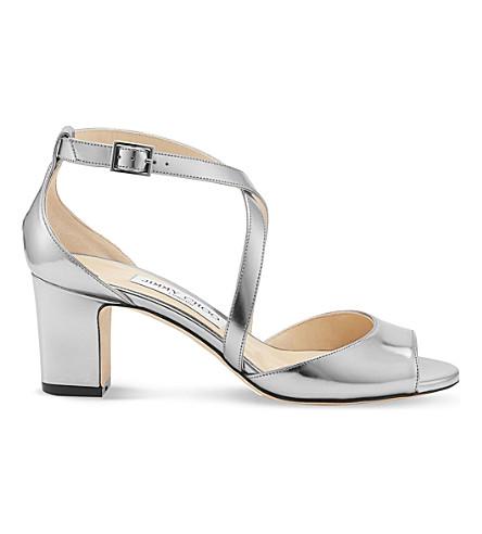 JIMMY CHOO Carrie 65 metallic-leather heeled sandals (Steel