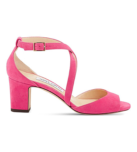 JIMMY CHOO Carrie 65 suede heeled sandals (Pink