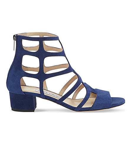 JIMMY CHOO Ren 35 suede heeled sandals (Steel+blue