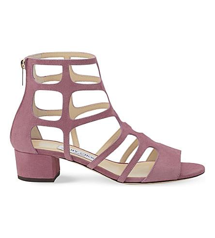 JIMMY CHOO Ren 35 suede heeled sandals (Vintage+rose