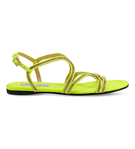 JIMMY CHOO Nickel Flat suede sandals (Shocking+yellow