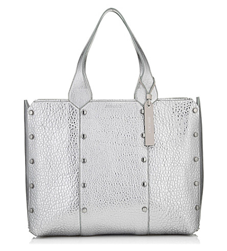 JIMMY CHOO Lockett Shopper metallic leather tote (Platinum