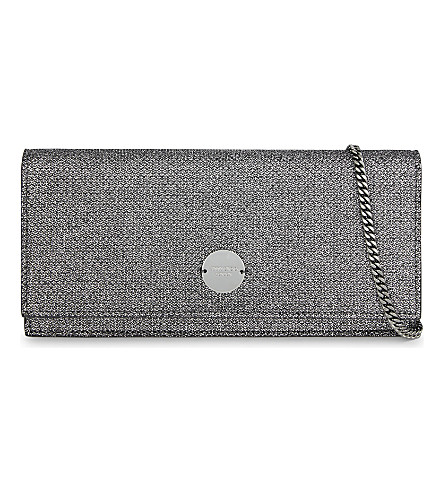 JIMMY CHOO Fie glitter clutch (Anthracite