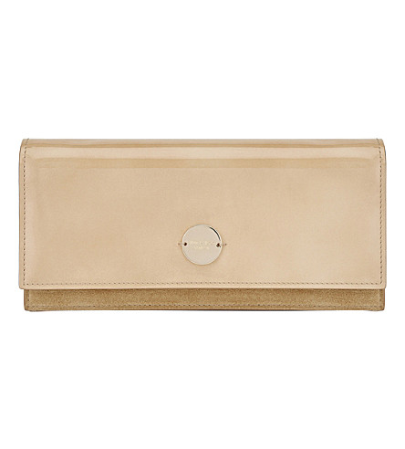 JIMMY CHOO Fie patent-leather and suede clutch (Nude