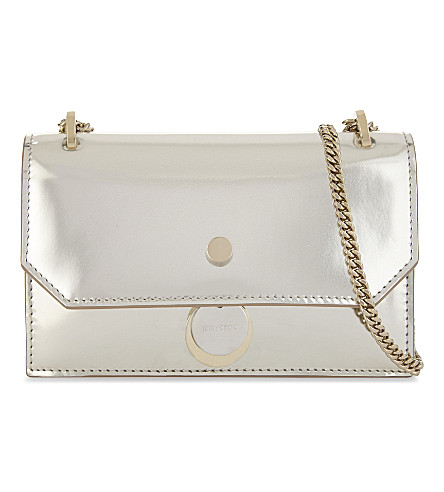 JIMMY CHOO Finley mirrored leather cross-body bag (Silver
