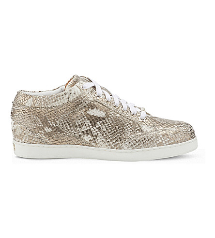 JIMMY CHOO Miami snake-embossed leather trainers (Champagne
