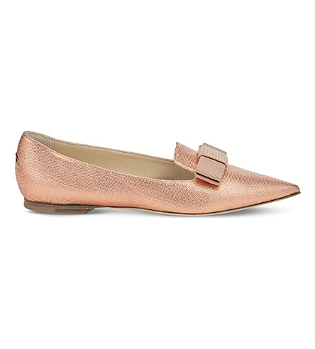 JIMMY CHOO Gala metallic-canvas pointed-toe flats (Tea+rose
