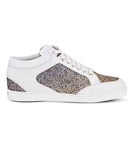 JIMMY CHOO Miami leather and glitter trainers (Antique+gold