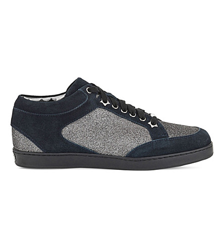 JIMMY CHOO Miami leather and glitter sneakers (Steel/navy