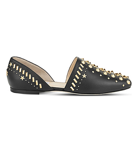 JIMMY CHOO Globe studded leather flats (Black
