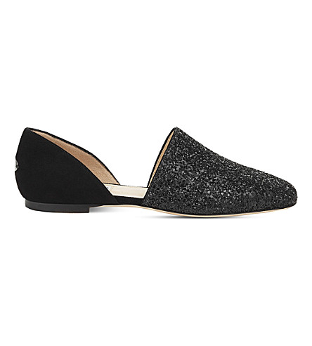 JIMMY CHOO Globe glitter and suede flats (Black/black