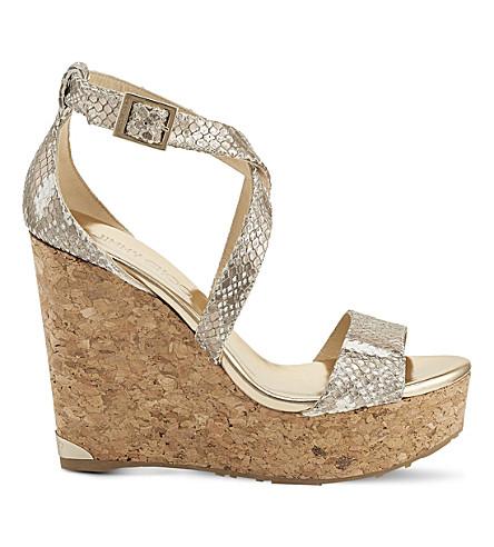 JIMMY CHOO Portia 120 suede wedge sandals (Champagne