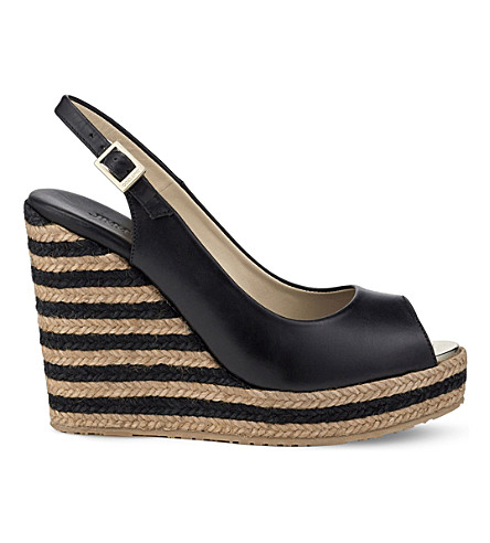 JIMMY CHOO Prova 120 leather wedge sandals (Black