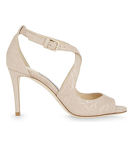 JIMMY CHOO Emily 85 metallic snakeskin-embossed leather heeled sandals (Nude