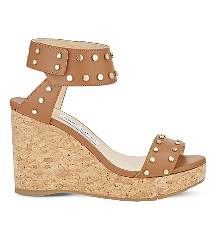 JIMMY CHOO Nelly 100 leather wedge sandals (Canyon/gold